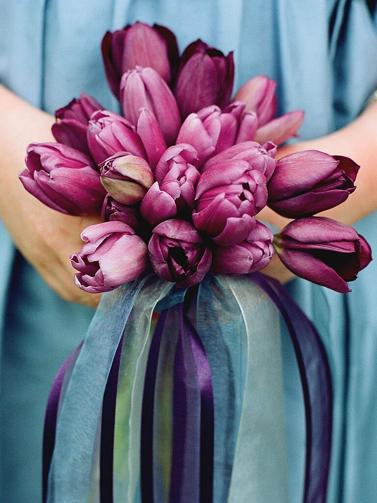 Purple tulip wedding bouquet ideas