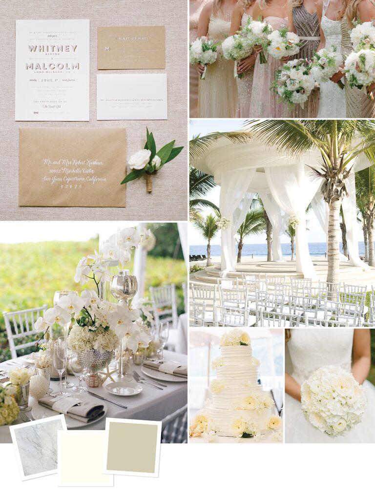 Elegant white monochrome beach wedding theme