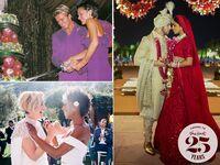 Beckhams wedding reception cake cutting with a sword; Samira Wiley and Lauren Morelli wedding day; Nick Jonas and Priyanka Chopra wedding