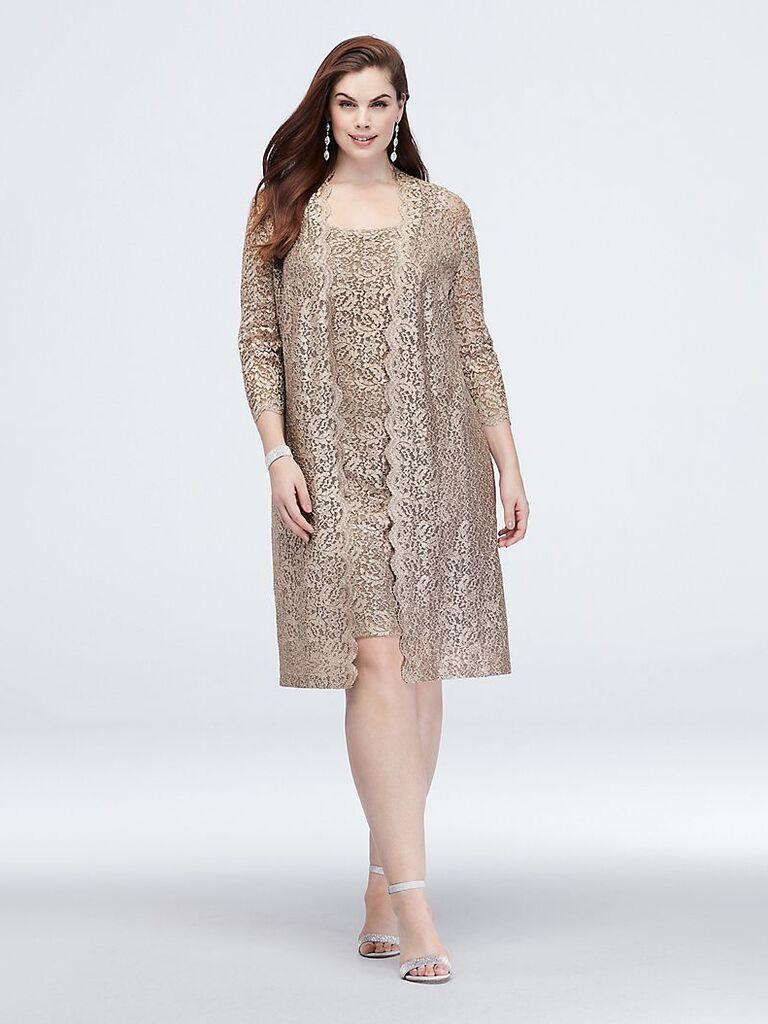 Alex Evenings short glitter lace tank plus size dress and jacket
