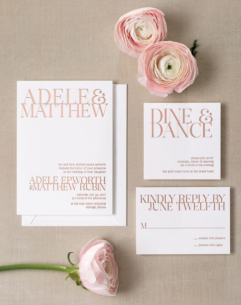 Contemporary rose gold foil wedding invitation