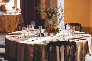 Gold Dining Table, Branch Flower Centerpiece