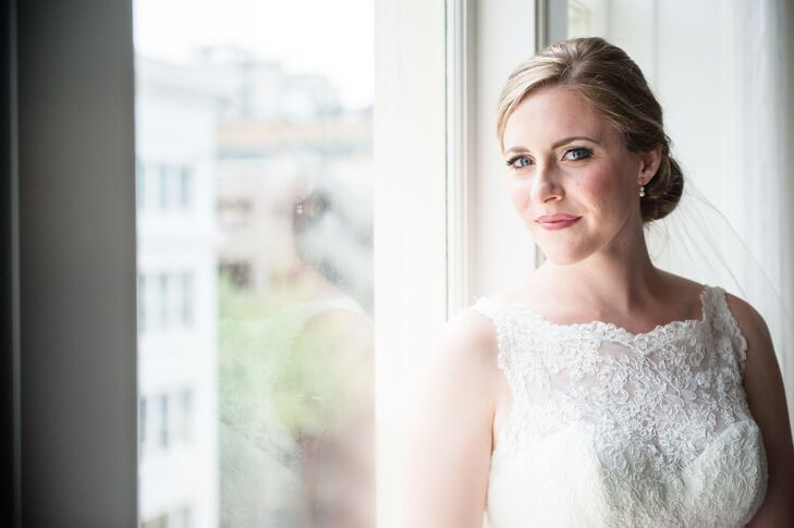 Erin wore her hair in a romantic, classic low chignon with a natural, but enhancing beauty look to compliment her bridal style.