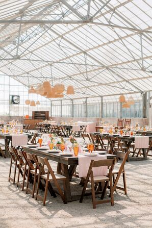 Reception with Woven Chandeliers at Dos Pueblos Orchid Farm in California