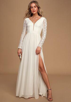 Lulus Always By My Side Ivory Lace Long Sleeve Maxi Dress A-Line Wedding Dress