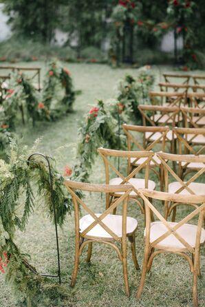 Green Cedar Wreath Aisle Decor