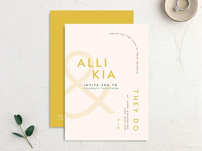 Colorful pink and yellow wedding invitation affordable