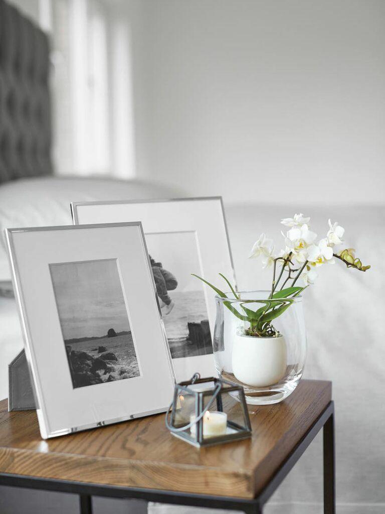 Slender silver plated wedding picture frame