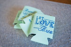 Mint and Navy Koozie Wedding Favors