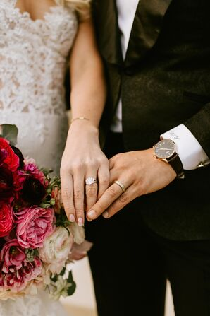 Diamond Engagement Ring and Gold Wedding Band