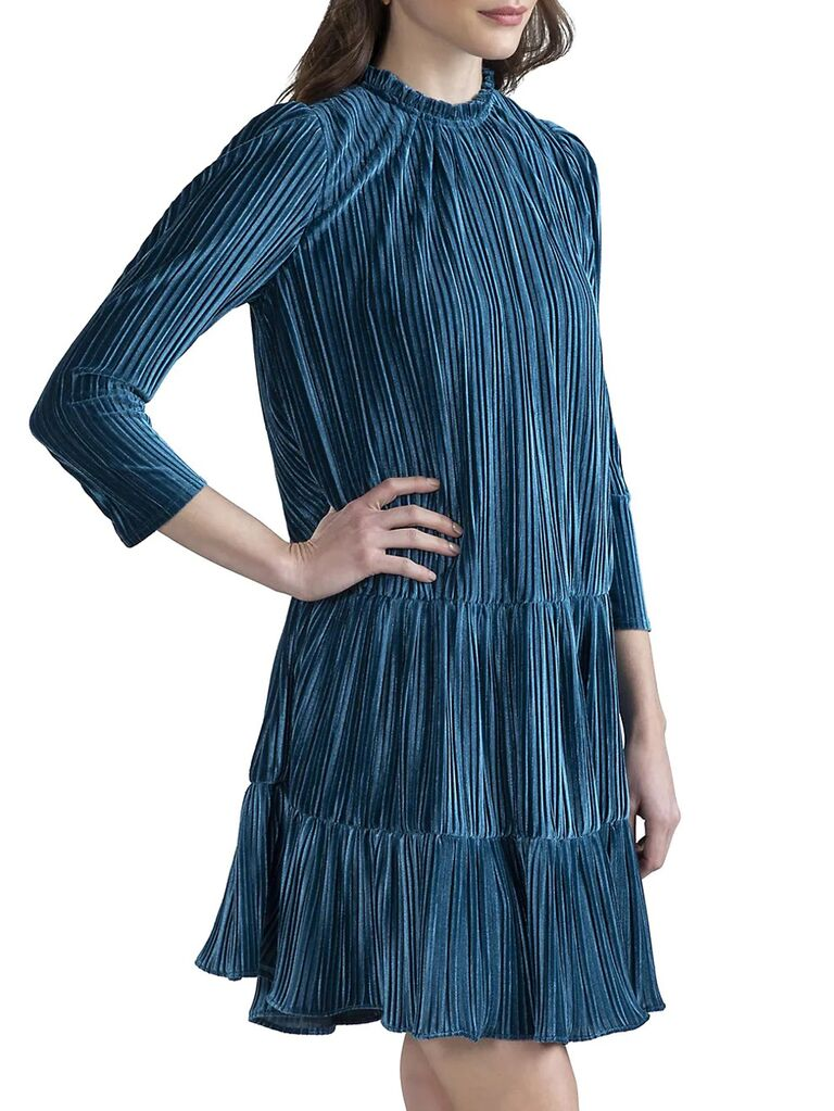 saks fifth avenue blue velvet wedding guest dress with high neckline pleating long sleeves and ruffle trimmed skirt