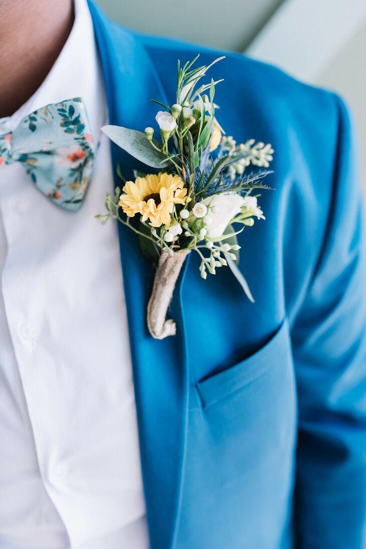 Sunflower Boutonniere on Blue Suit
