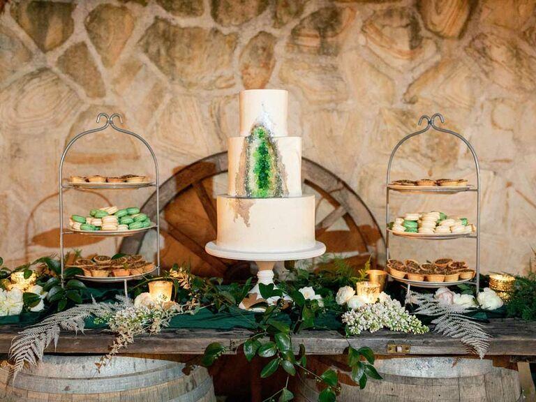 Wedding cake with hidden geode center
