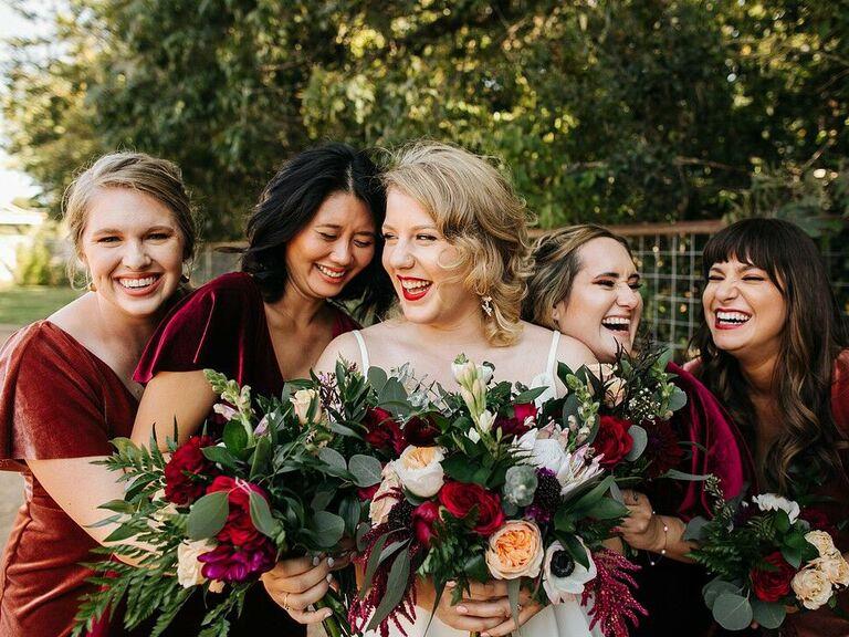 Fall wedding ideas velvet dresses