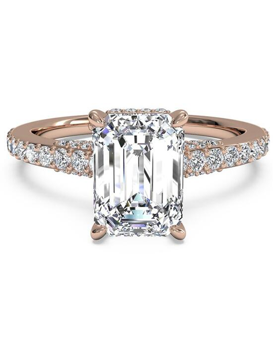 Ritani French-Set Diamond Band Engagement Ring - in 18kt Rose Gold for a Emerald Center Stone Engagement Ring photo
