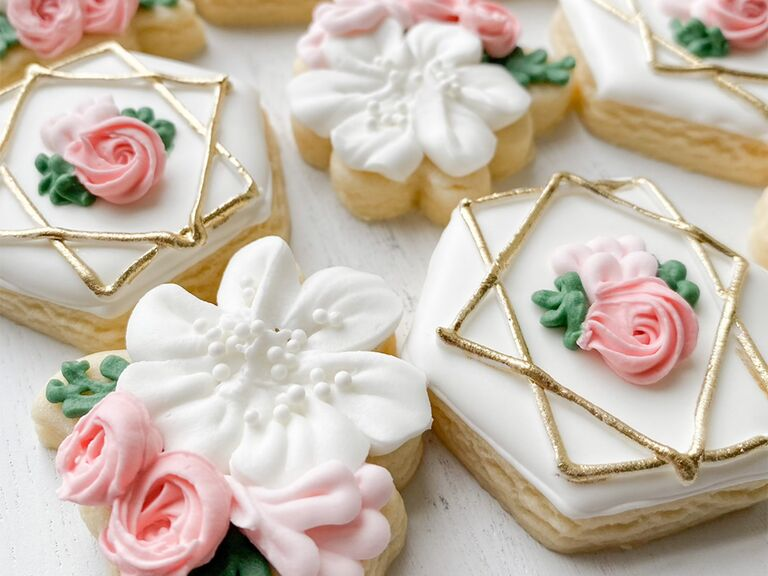 Pink rose and gold detail frosted cookies
