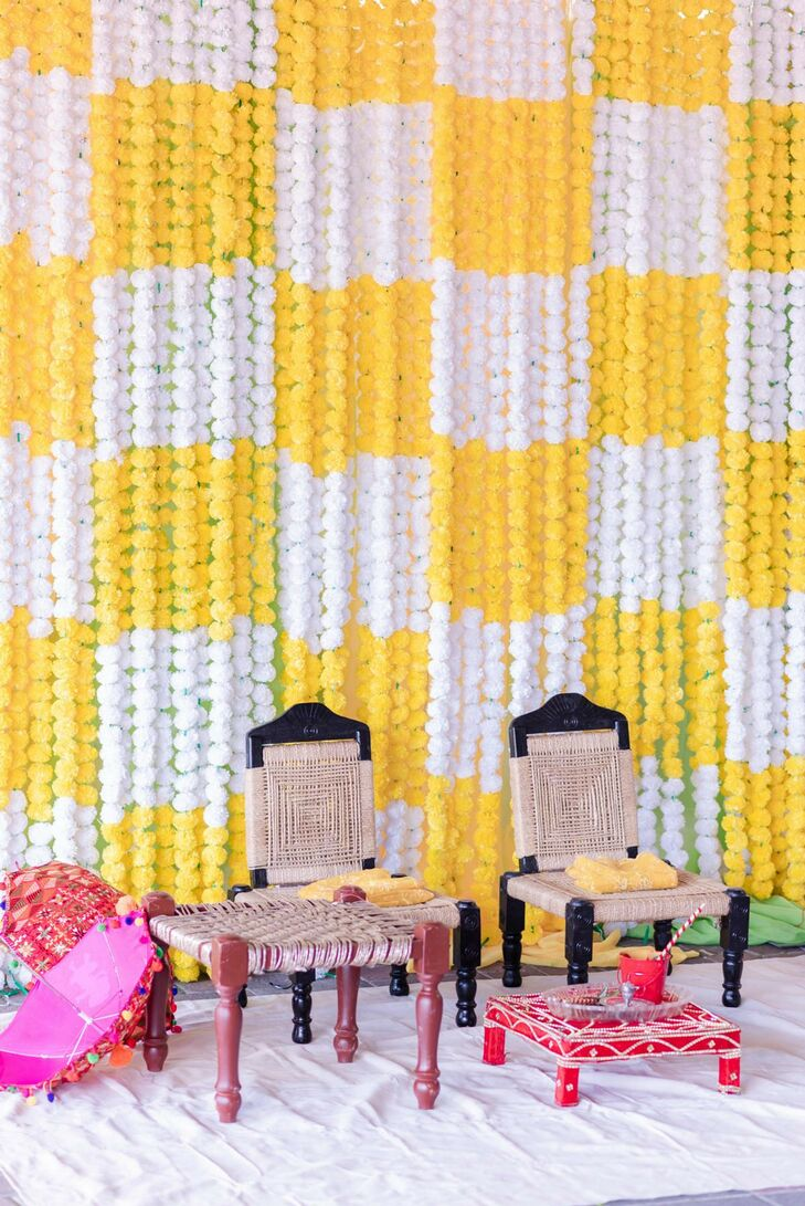 White-and-Yellow Marigold Decor for Pre-Wedding Haldi Party