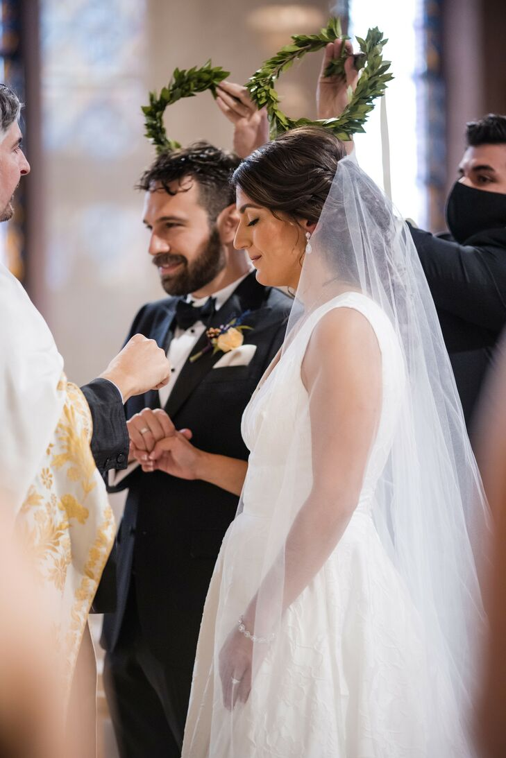 Couple During Traditional Greek Orthodox Ceremony in New York
