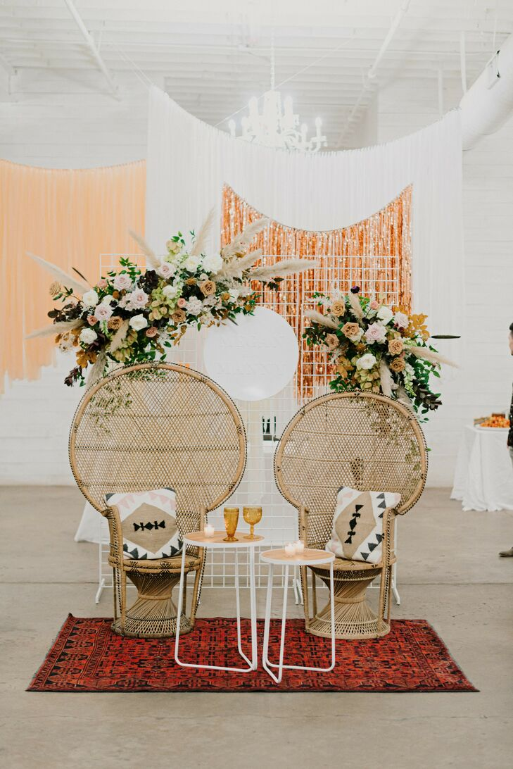 Wicker Peacock Chairs for Reception at The Space HTX in Houston, Texas