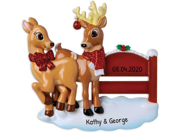 Male and female reindeer with red fence detail and personalized names