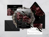 Gothic design with peonies and event details in white type