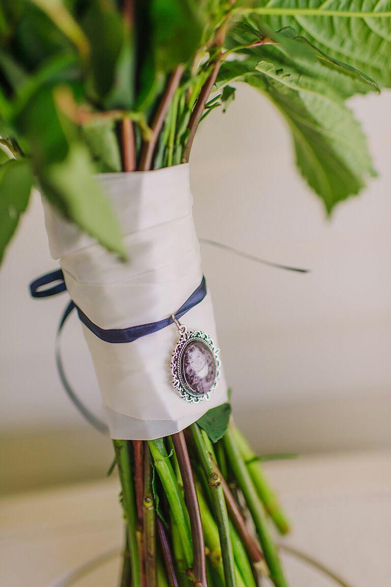 satin bouquet wrap with charm