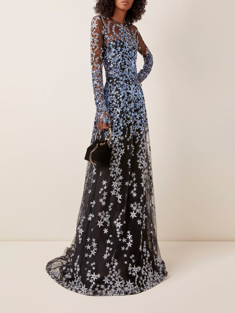 Naeem Khan sequined embroidered mesh gown