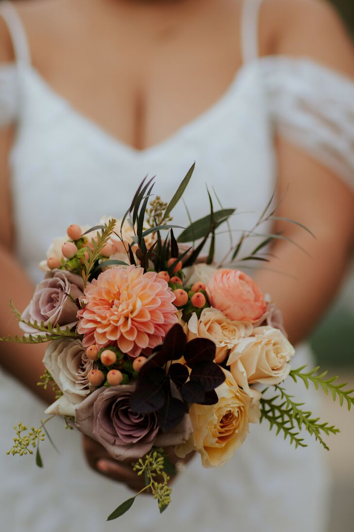 Rustic Wedding Bouquet With Dahlia and Hypericum Berry