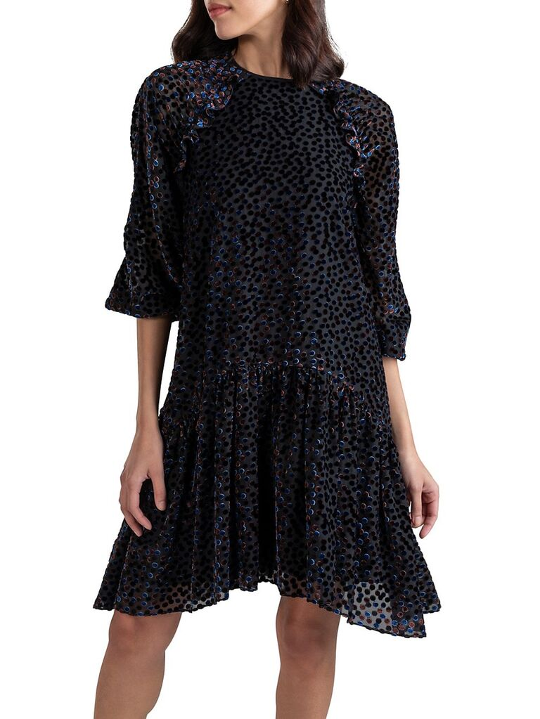 saks fifth avenue black velvet wedding guest dress with polka dots beading ruffle trimmed skirt and three quarter length sleeves