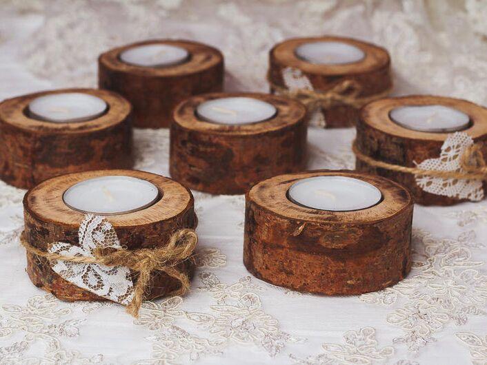 AS Deco Rustic wood tea light holders