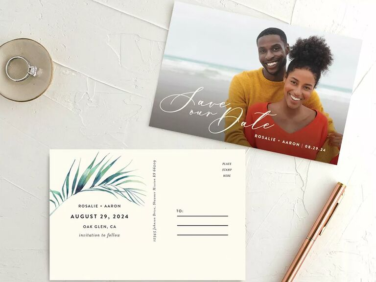 Personalized photo with white calligraphy on front, palm leaf and black minimalist type on back