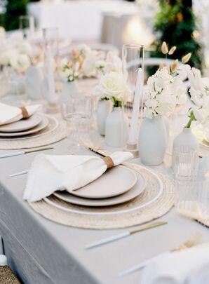 Neutral-Hued Reception Tablescape for Wedding at Franciscan Gardens in San Juan Capistrano, California