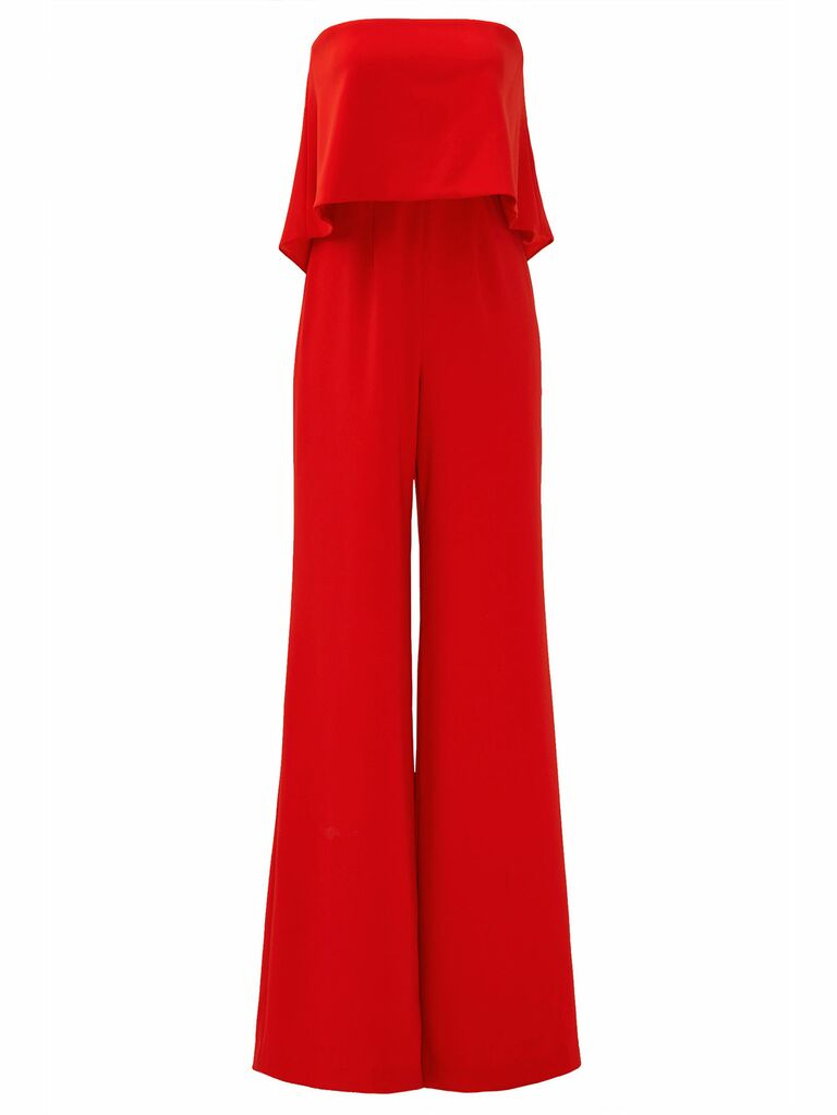 red retro ruffle jumpsuit