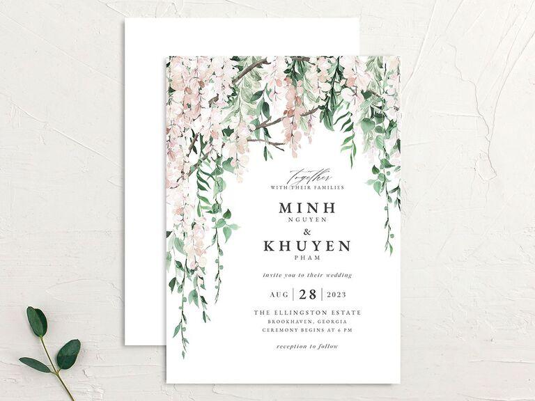 Budget-friendly floral wedding invitation