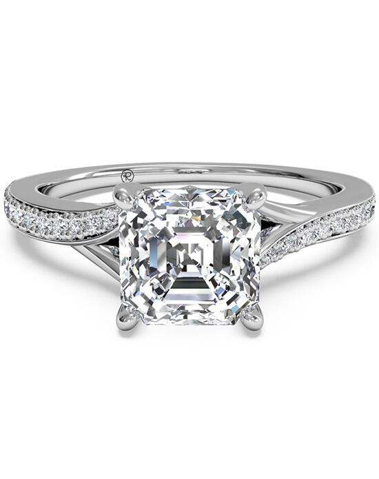 Ritani Modern Bypass Micropavé Diamond Band Engagement Ring - in 14kt White Gold - (0.19 CTW) for a Asscher Center Stone Engagement Ring photo