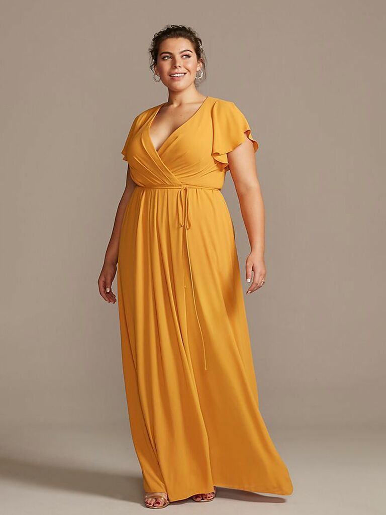 long wrap dress bridesmaid dress with flutter sleeves in marigold