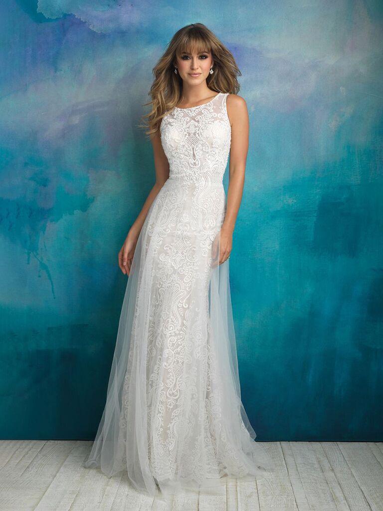 váy cưới sheath trắng quyến rũ với dây dày ren lưới cao cổ váy người yêu cổ ren ngực và váy vải tuyn ren hoa váy cưới đơn giản đẹp