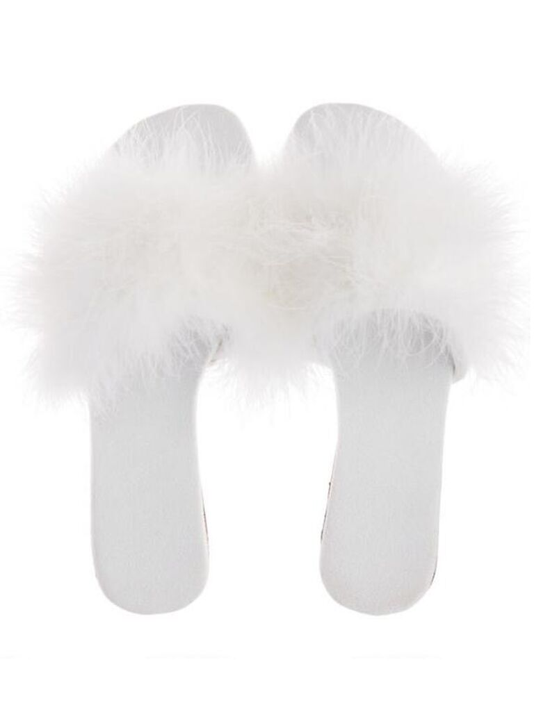 world market white bride slippers with feathers