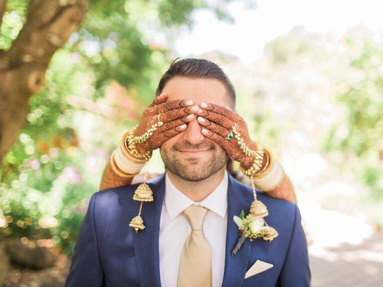Bridal back hand henna tattoos