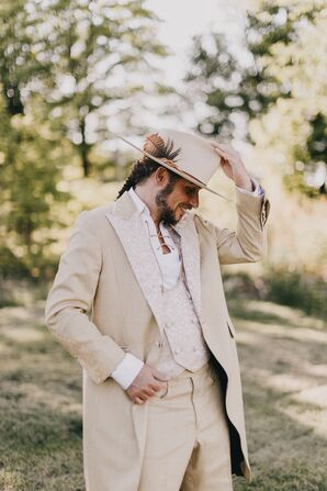 The Groom Wore a Cream Suit to Embody His Citrine Birth Stone