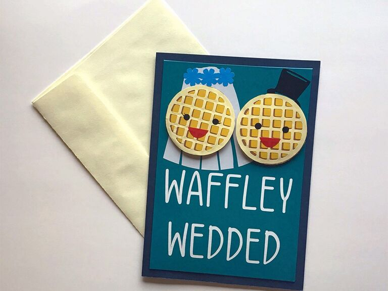 Bold white sans serif type and bride and groom waffle graphics on teal background