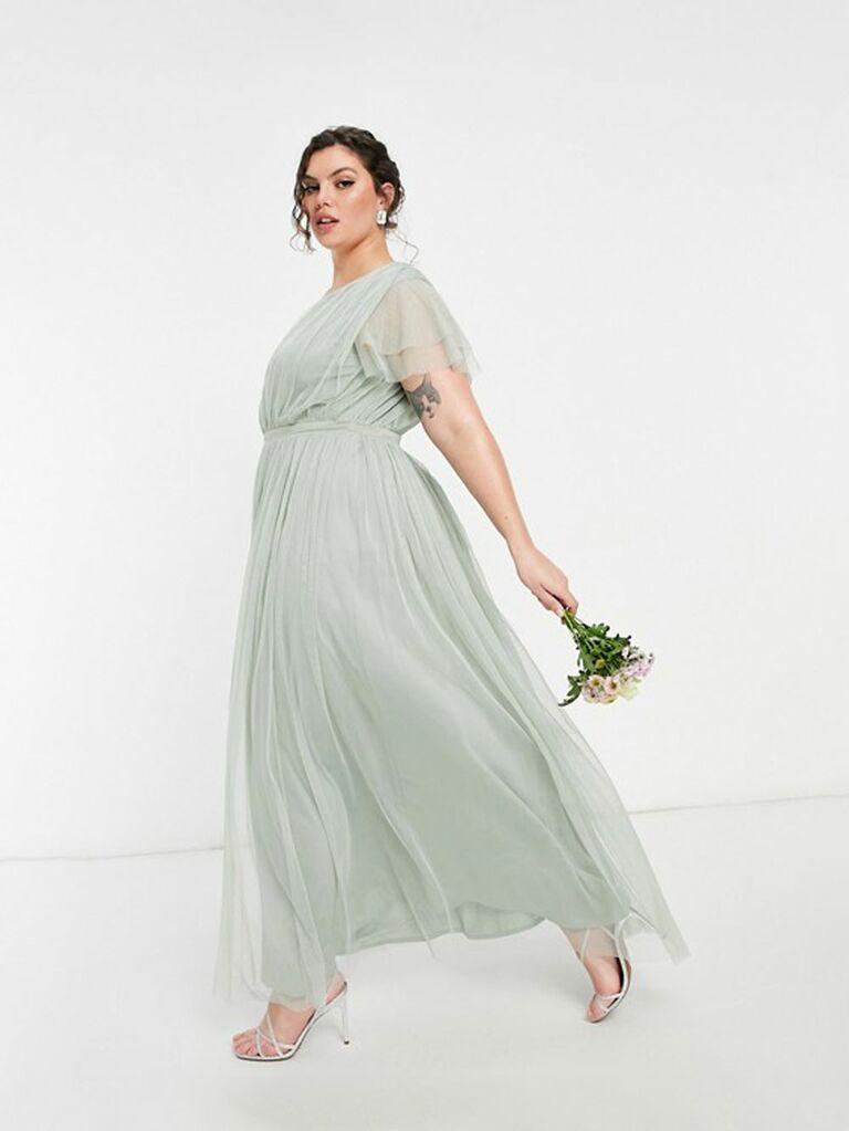 Bridesmaid tulle cap sleeve maxi dress in sage