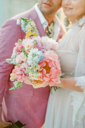 Vibrant Pastel Bouquet With Coral Charm Peony