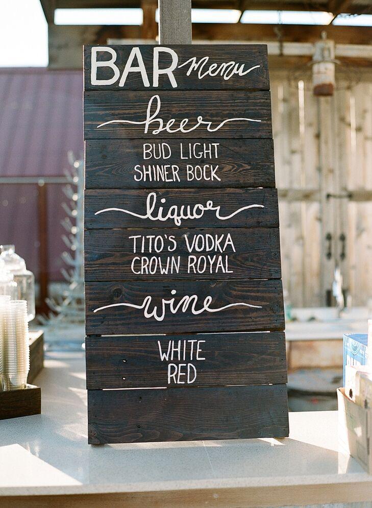 Marissa's parents created the bar menu sign.