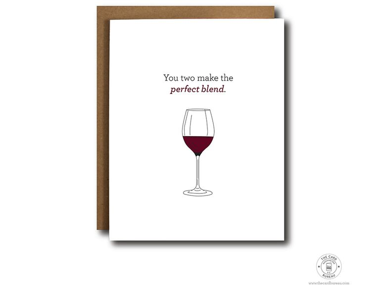 'You two make the perfect blend' with glass of red wine graphic on white background