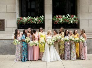 When you get married under a soaring Tiffany stained-glass dome, a grand celebration is in order. So for their wedding at the Chicago Cultural Center,