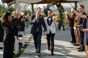 Grooms Recess Down the Aisle of Socially Distanced Guests