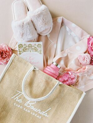 Pink-and-Tan Wedding Welcome Bag in Cabo San Lucas, Mexico