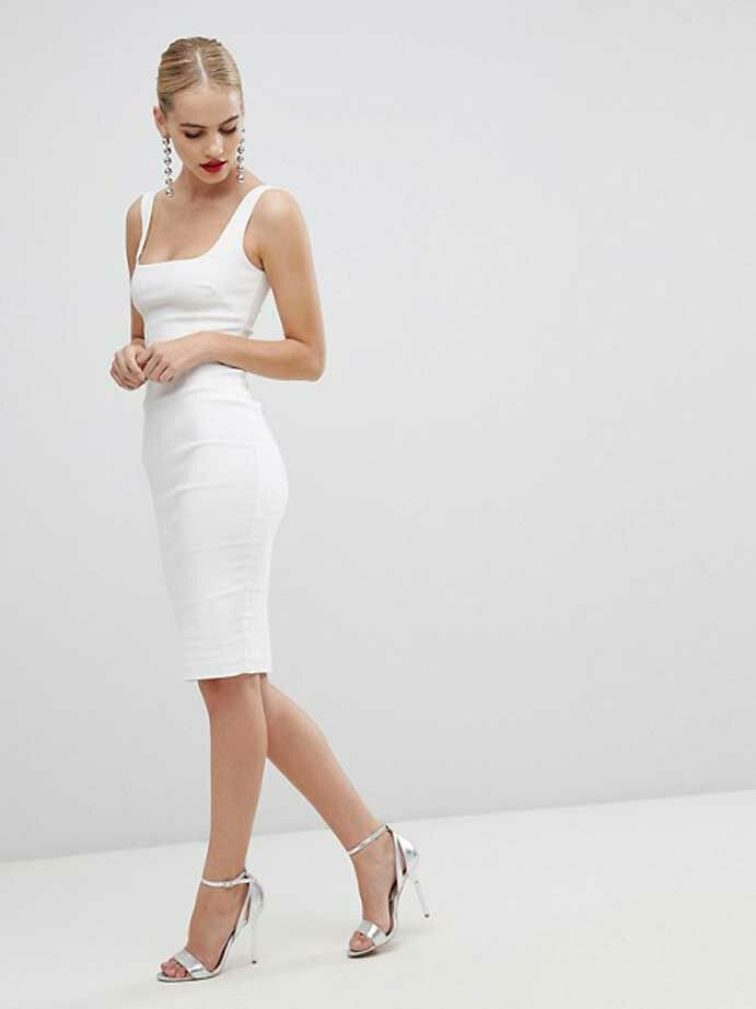 White fitted square-neck dress
