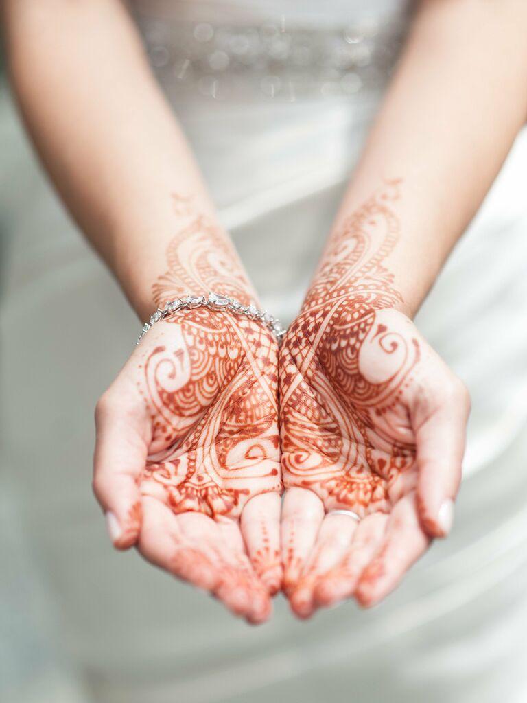 Bridal henna hand tattoos